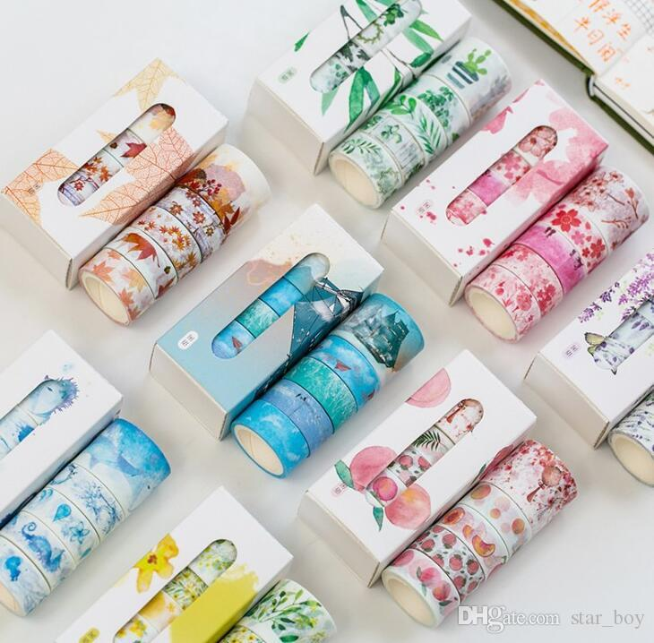 6//12 Rolls 10m Washi Sticky Tape Creative Decorative Craft Flowers Floral Plants