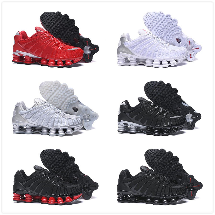 Top Quality shox tl Mens Running Shoes Breathable Sneakers Black White outdoor walking sports chaussures r4 Trainers