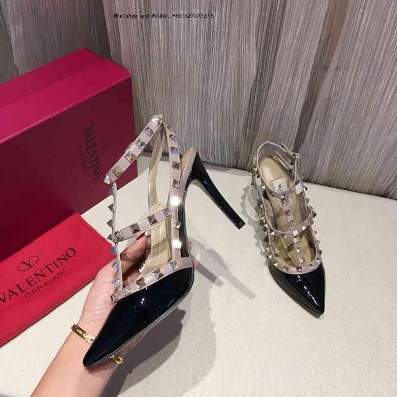 Lady Yaz 2019 tasarımcının Marka Sandalet Metal Toka Büyük Boy Us10 42 Deri Seksi Yüksek topuklu bayan Ayakkabıları