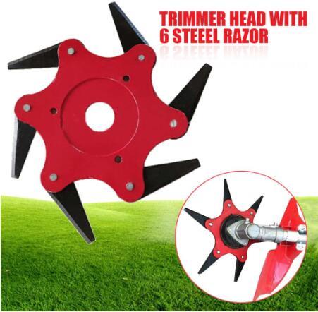 Red 6 Dientes Cepillo Cortador Cuchilla Trimmer Cuchillas de Metal Trimmer Head Garden Grass Trimmer Head For Lawn Mower Spare Parts