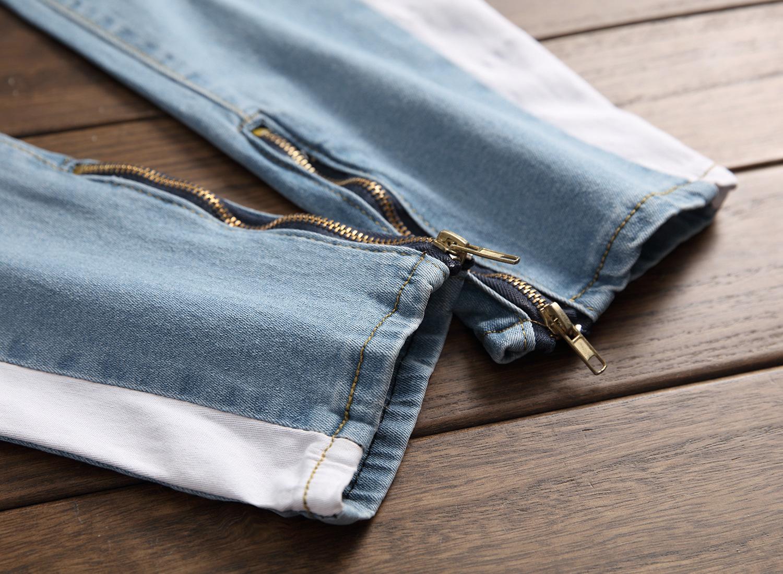 2018 Männer Stretch Jeans Seitenstreifen Biker Jeans Denim Ripped Knielöcher Schlank Abendessen Dünne Hip Hop Jeans Männer Y19060501
