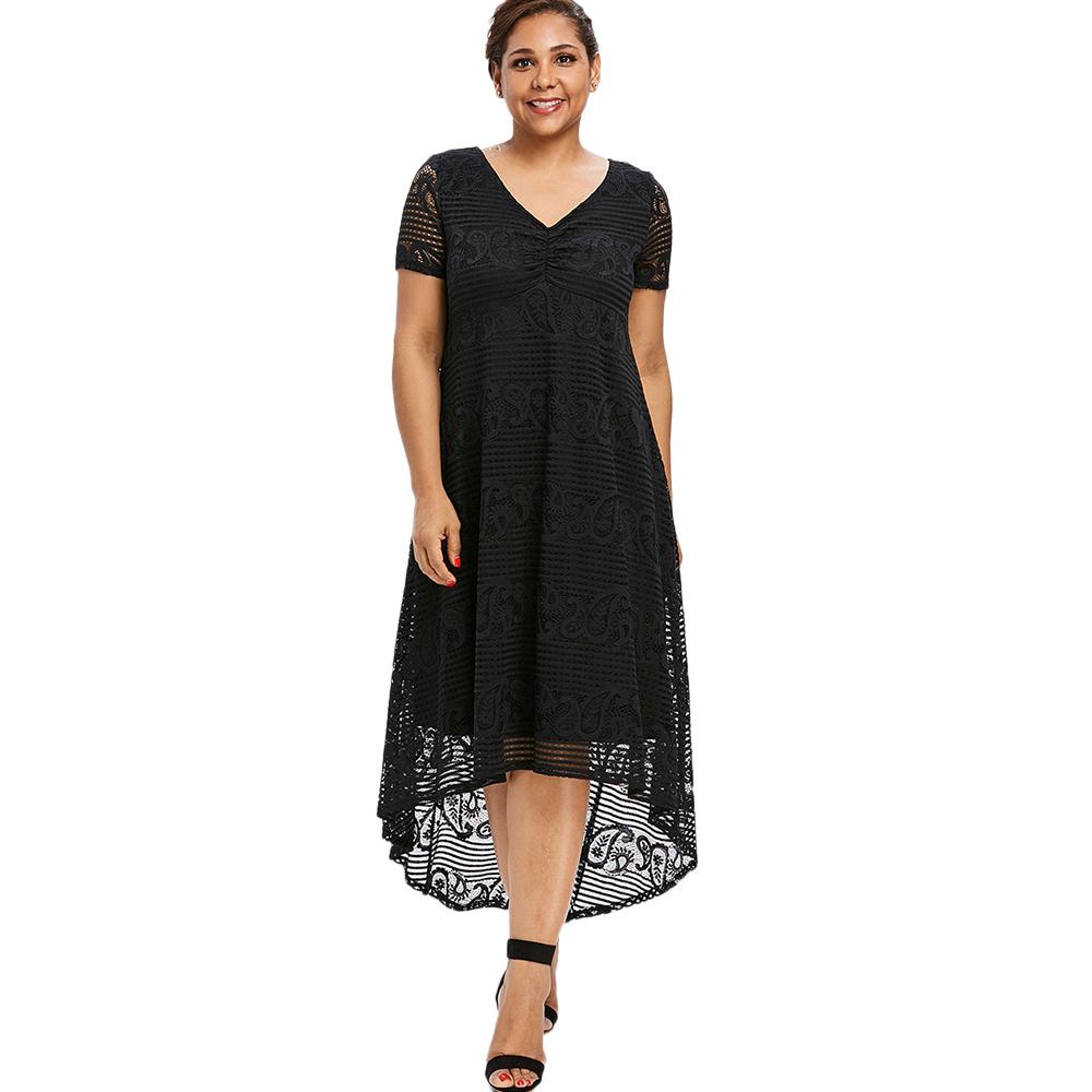 Vestido midi de verano para mujer Tallas grandes Sundress Mangas cortas Blanco Negro Cuello en V Vestido de fiesta de encaje semi formal Vestido de mujer Vestidos