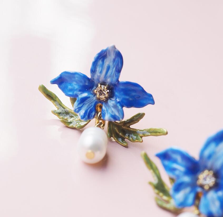 2019 Yeni El Yapımı Emaye sır Pency çiçek Mavi çiçek Doğal tatlı su inci küpe kulak klipsi