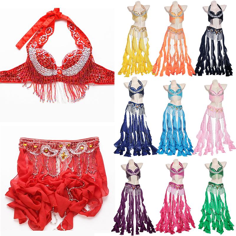 Music festival dress Dance Outfit Handmade bead Costume Set Bra Belt Carnival