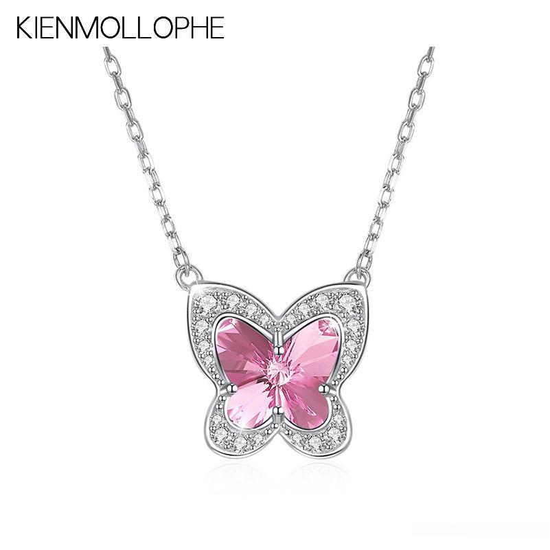 Collar 925 Sterling plata mariposa remolque Butterfly corazón insecto 23