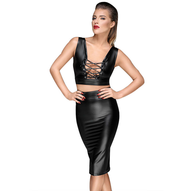Gothic Wet look Black Faux Leather Skirt Sexy Punk Back Zipper Lace Up Wrap Pencil Skirt 2018 Summer Bodycon Midi Skirts Womens (4)