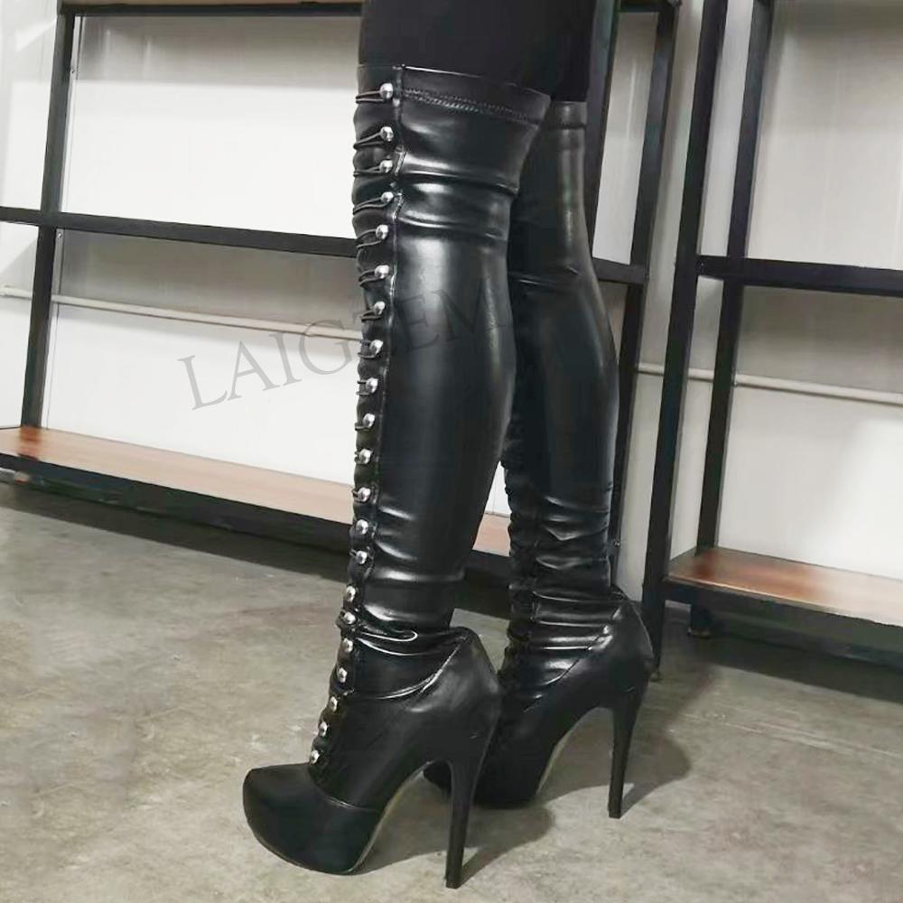 LAIGZEM SUPER Women Long Boots Stiletto