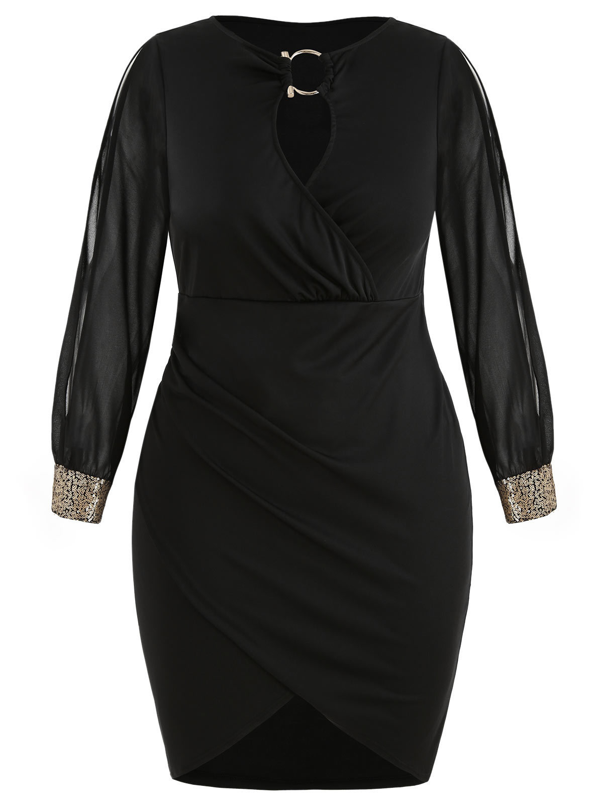 Wipalo Slit Sleeve Plus Size O-ring Sequin Embellished Bodycon Dress Elegant Solid Slip Front Mini Party Dress 5xl Fall Vestidos Y19051001