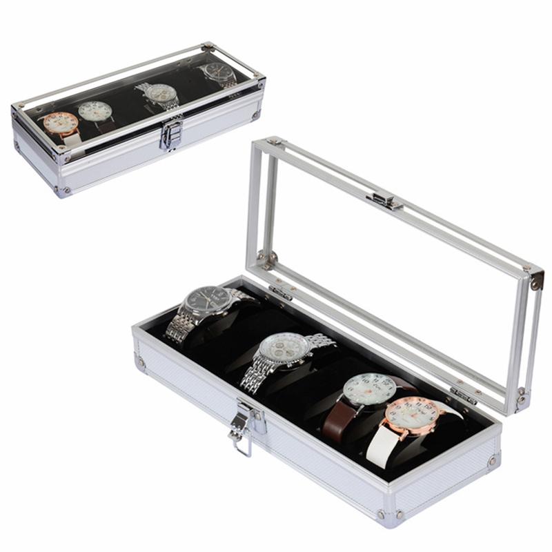 6 Izgara Alüminyum İzle Kutusu Vitrin Takı Koleksiyonu Depolama Organizer Kol Tutucu Hediye J190713