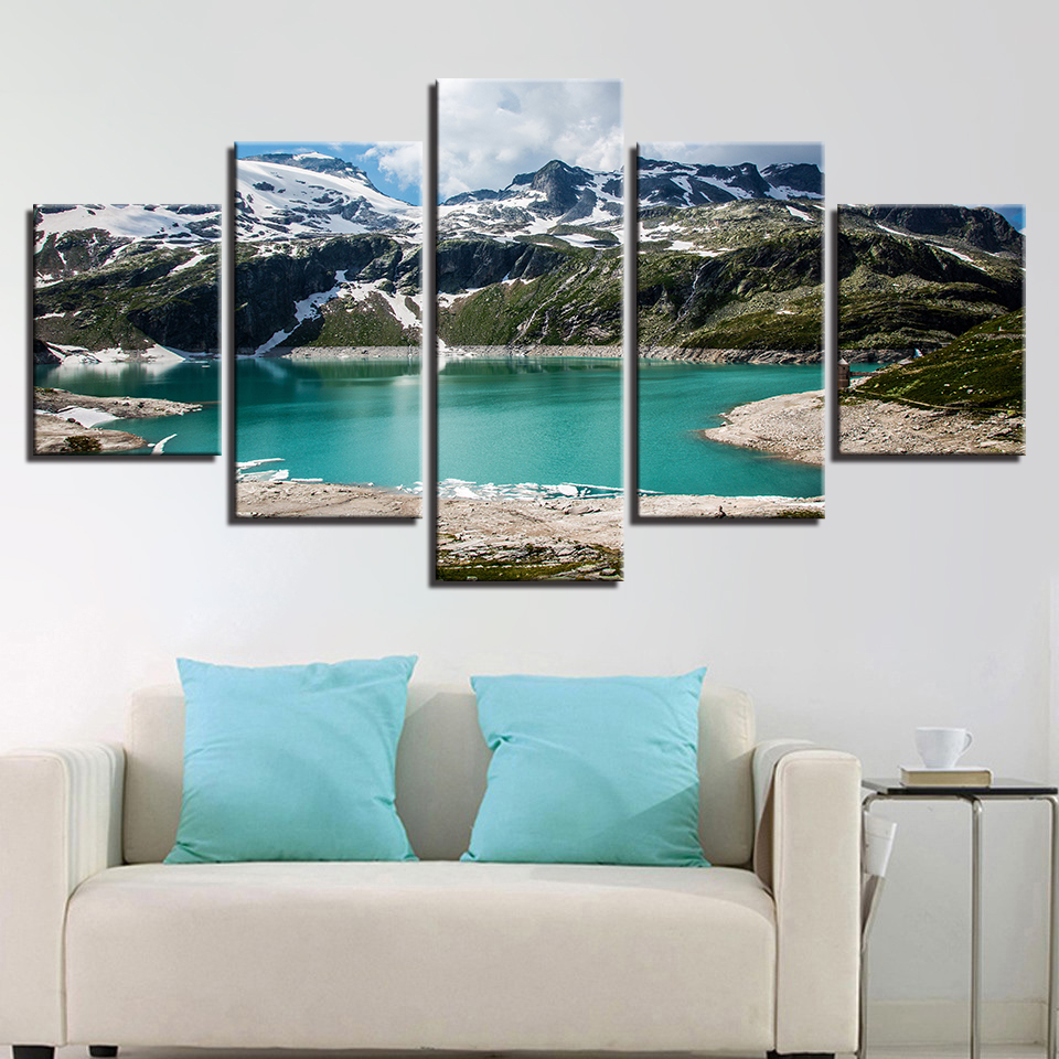 Modern HD Painting 5 Panel Mountain Lake Landscape Posters Printed Wall Artwork Pictures Home Framework Decoration Living Room Quotes