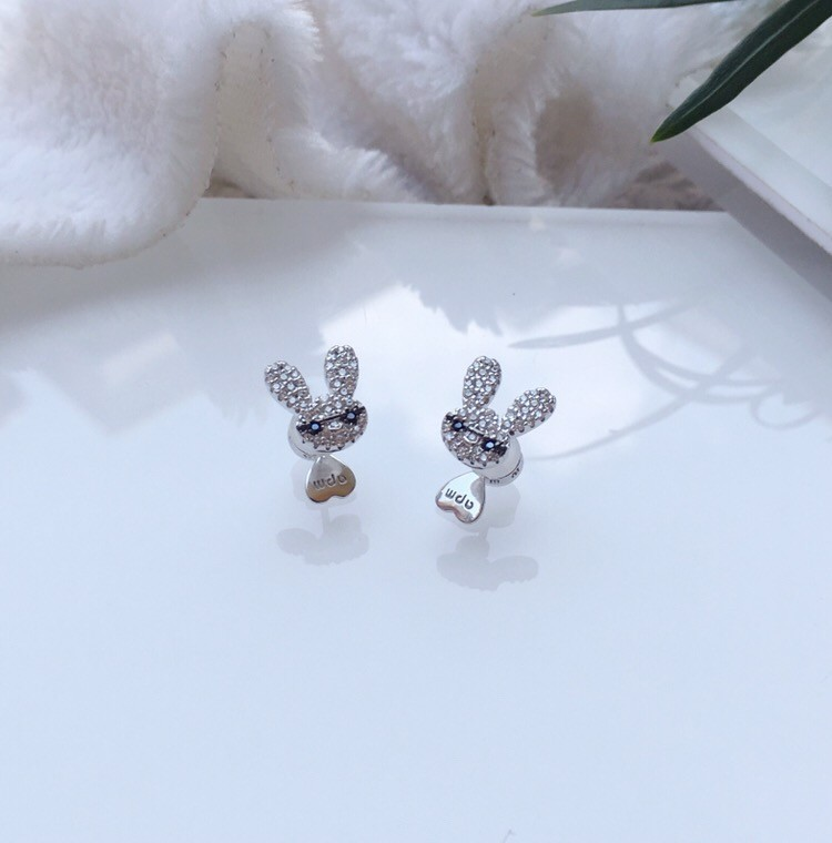 earrings for women rabbit ear studs silver inlaid diamond fashion 2019 new trend