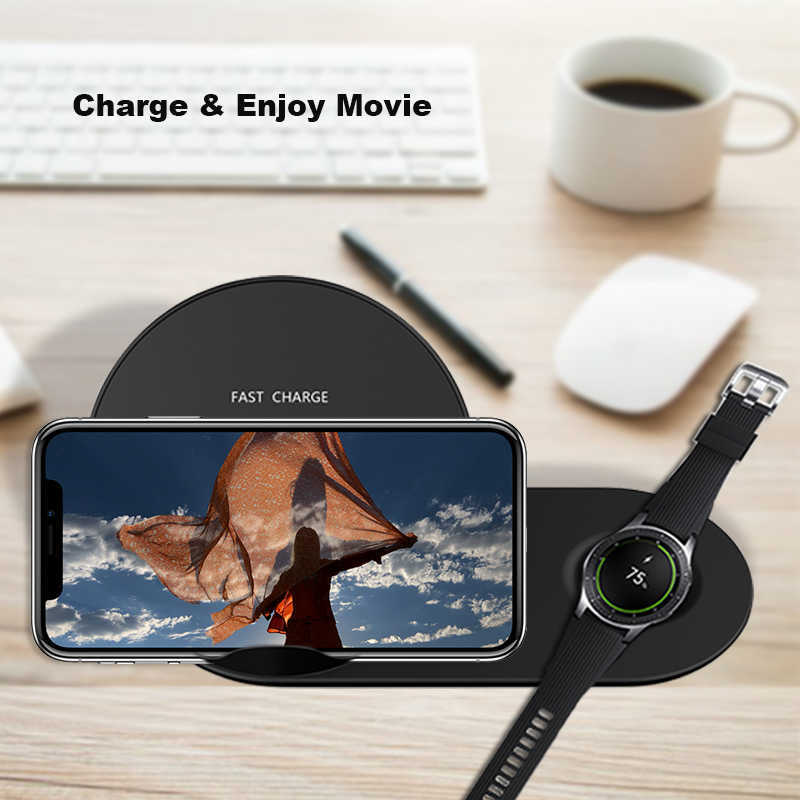 Qi Wireless Charger Stand For Iphone X Xs Samsung Gear S2 S3 S4 Note 8 9 Galaxy S8 S9 S10 Plus Watch Fast Wireless Charger J190427