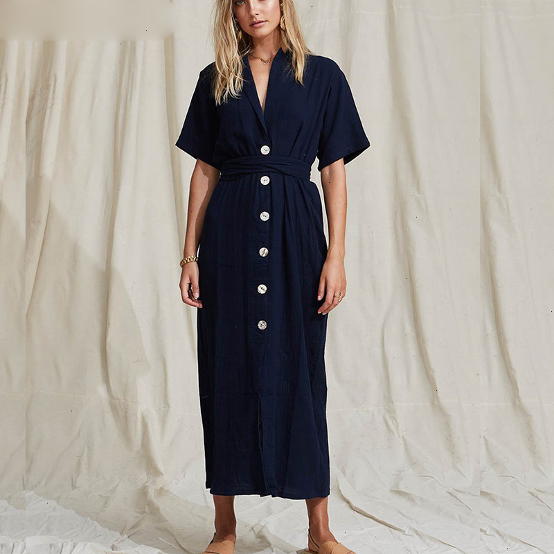 2019 Sashes Summer Long Ankle-Length Dresses Women Cotton White Sexy V-Neck Straight T Shirt Dress Woman Loose Clothes