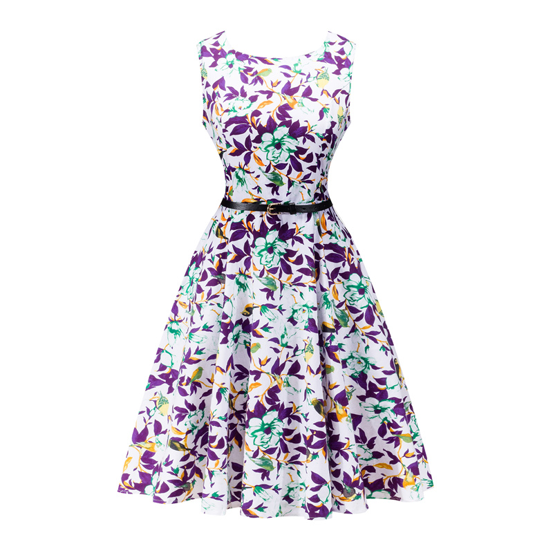 Kostlish 2017 New Summer Dress Women Floral Print Audrey Hepburn 50s 60s A-Line Vintage Dress Sleeveless Party Dresses Plus Size (91)