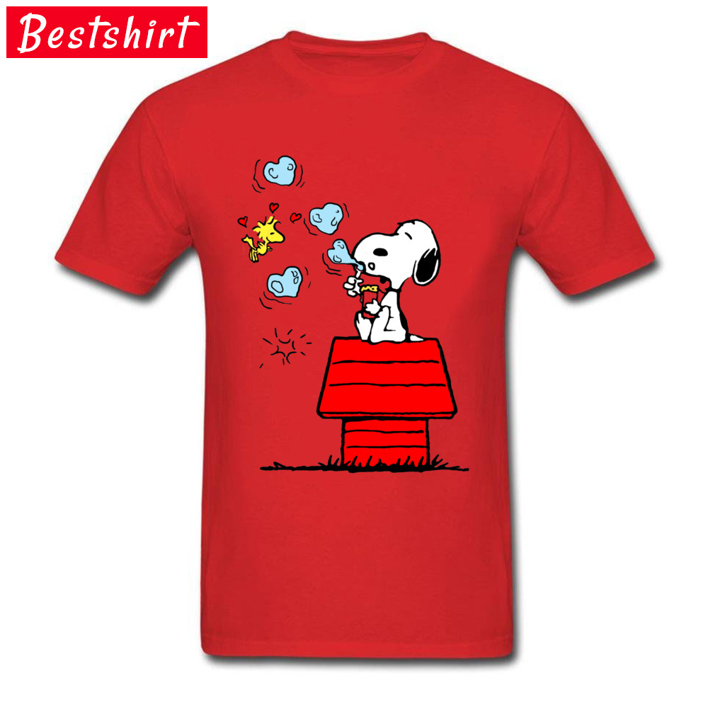 Snoopy and Woodstock -4362 Normal Summer/Autumn Pure Cotton O-Neck Men Tops Tees Tee Shirt Popular Short Sleeve Top T-shirts Snoopy and Woodstock -4362 red