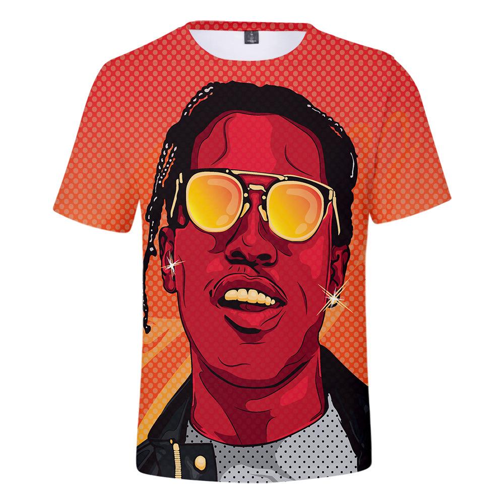 U.S.A Рубашка 2019 Новорожденных рэперы ASAP Rocky 3d сетка вентиляция с коротким рукавом футболка