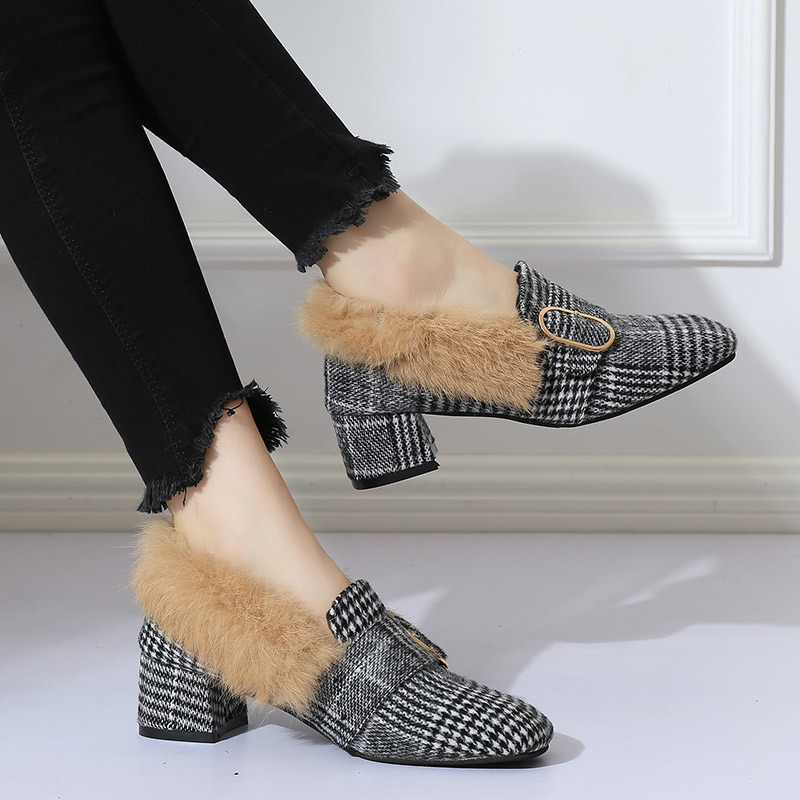 Shoes 2019 Winter Women Fur Loafers Medium Heels Pumps Rabbit Fur Slip on Woman Casual Plaid Ladies 6877