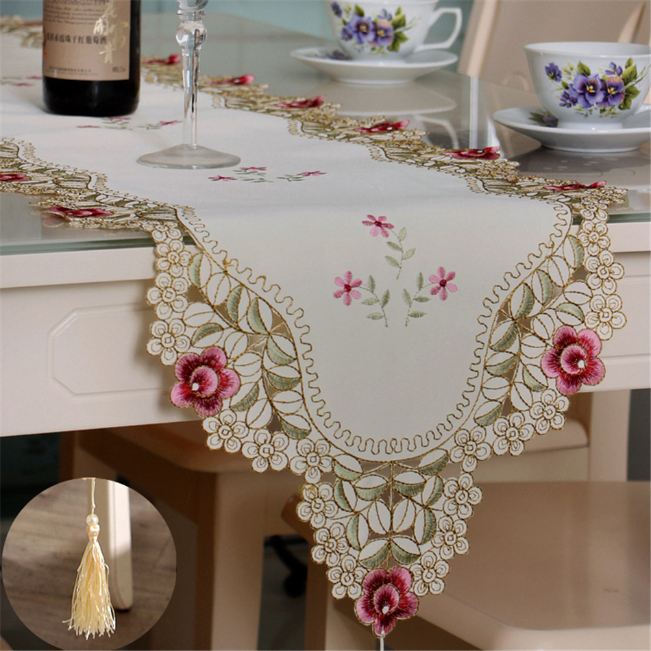 European Pastoral Style Embroidery Pink Floral Table Runner Polyester Rural Table Decorative Cloth With Tassel Cabinet Cover