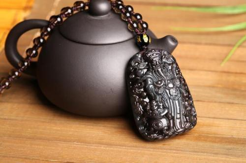 Fine Jewelry Natural Colour Obsidian Hand Carved God of Wealth Lucky Pendant + Beads Necklace