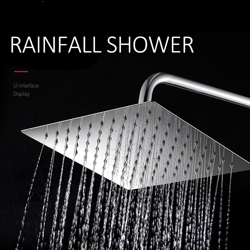 quyanre wanfan gappo chrome shower faucet set with ultrathin rainfall shower head 3-way brass mixer with commodity shelf bath shower faucet2