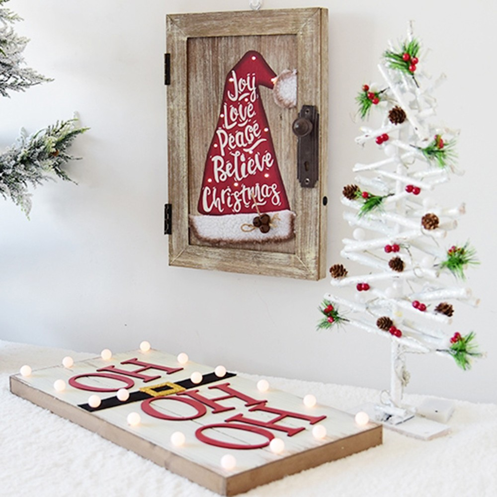 Xmas Decorations Creative Christmas Hat Wall Hanging Ornaments Personality Letter Pattern Wooden Desktop Lighting Christmas Decoration Christmas