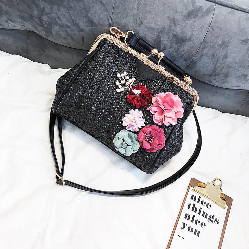 Women Pearl Handbag INS Popular Female Summer Flower Straw Bag Lady Fashion Shoulder Bag Travel Beach Woven Crossbody Bag SS7220 (1)