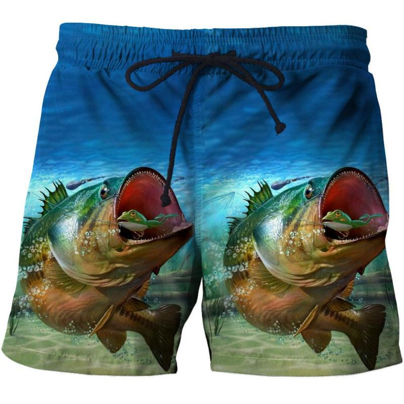 Cartoon Shark Mans 3D Print Graphic Quick Drying Swim Trunks Board Shorts Beach Swim Shorts