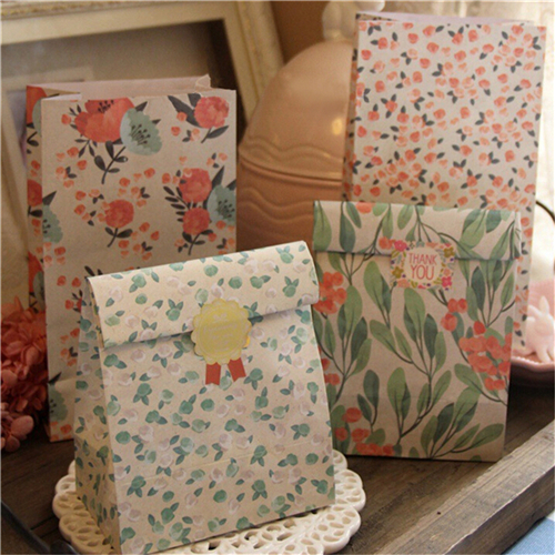 4Pcs/set Flowers Paper Gift Bags Craft Candy Food With Sticker Best Gift Bag For Christmas Wedding Party Favors 23x13x18cm