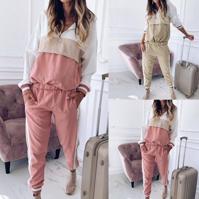 2020 Women Tracksuit Sweatshirts Joggers Suits Sportswear Female Running Set Fashion Striped Hooded Tracksuit Workout Clothes