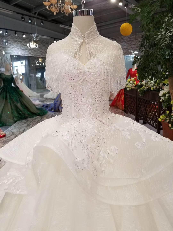 Amazing Shiny Wedding Dress 2019 New Bling Bling Ball Gown Luxury Bride Dress Vestido De Noiva Custom Made High Quality Bridal
