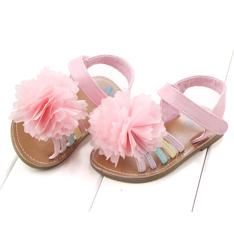 Summer Baby Girls Sandals Fashion Children Kids Baby Girls Solid Floral Soft Sole Anti-slip Princess Shoes Girl Sandals M8Y12 (4)