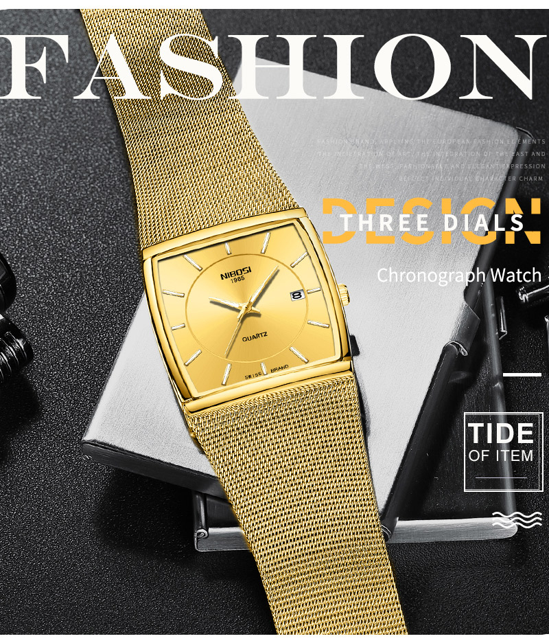 Factory Direct Sales Luxury Luminous Men`s Waterproof Watch NIBOSI Quartz European Style Unique New Square Stainless Steel Watch (12)