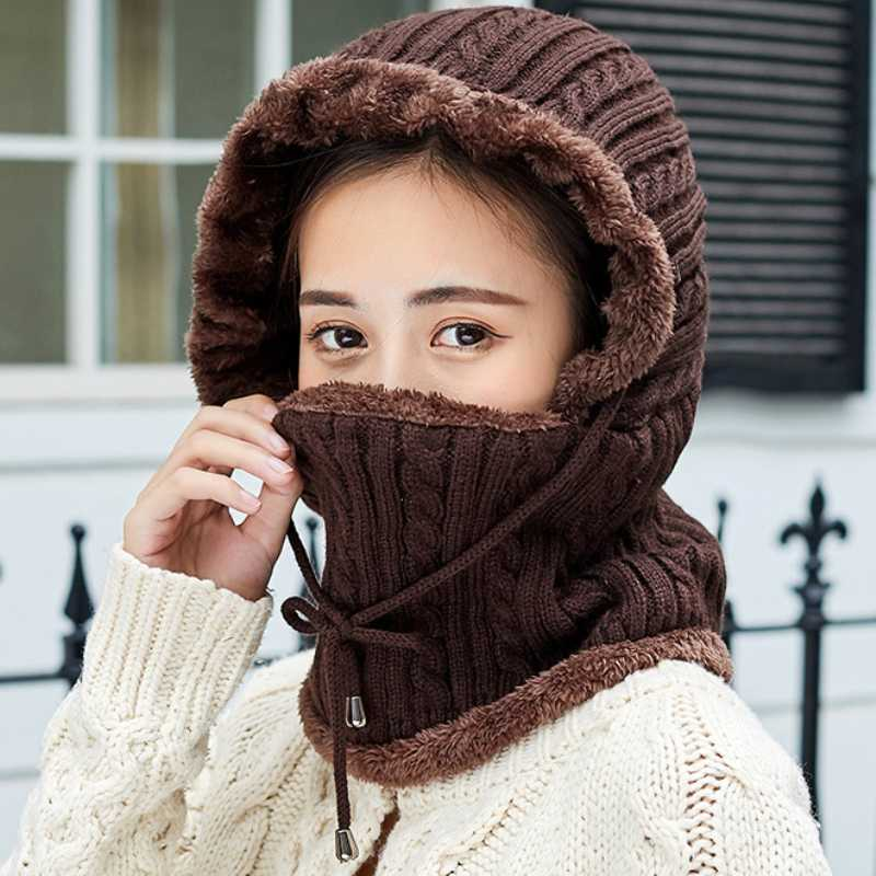 YYNIGHT Winter mens and womens warm knitted hat scarf-QM-Yellow