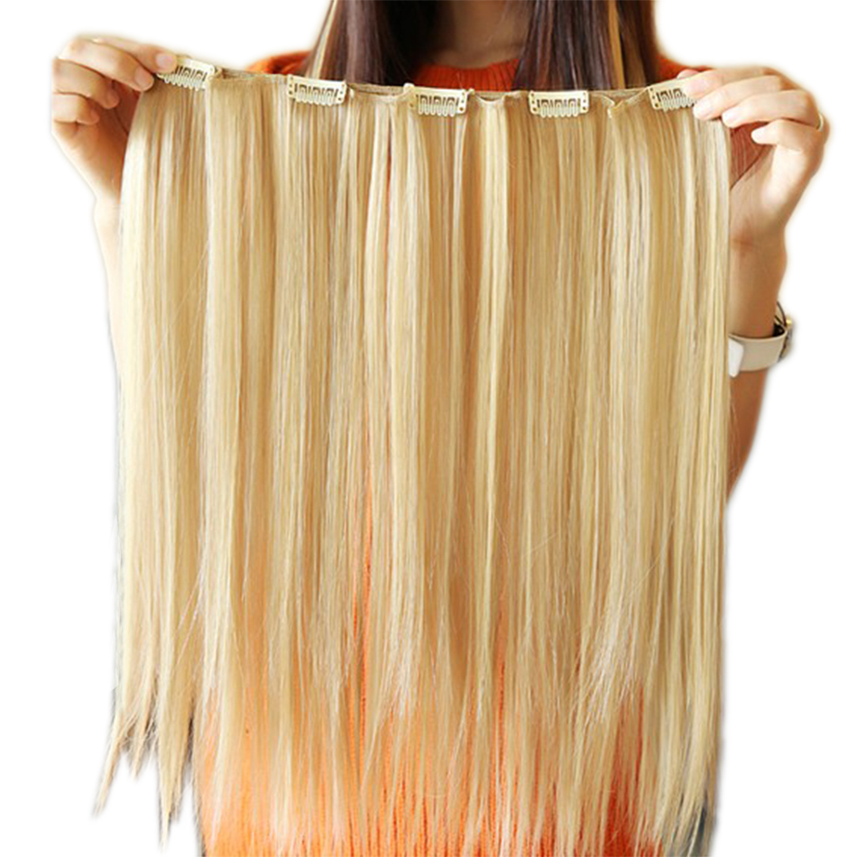 Long Straight Synthetic Hair Clip In Hair Extensions High Temperature Fiber 5 Clips Hairpiece for Women 18inch