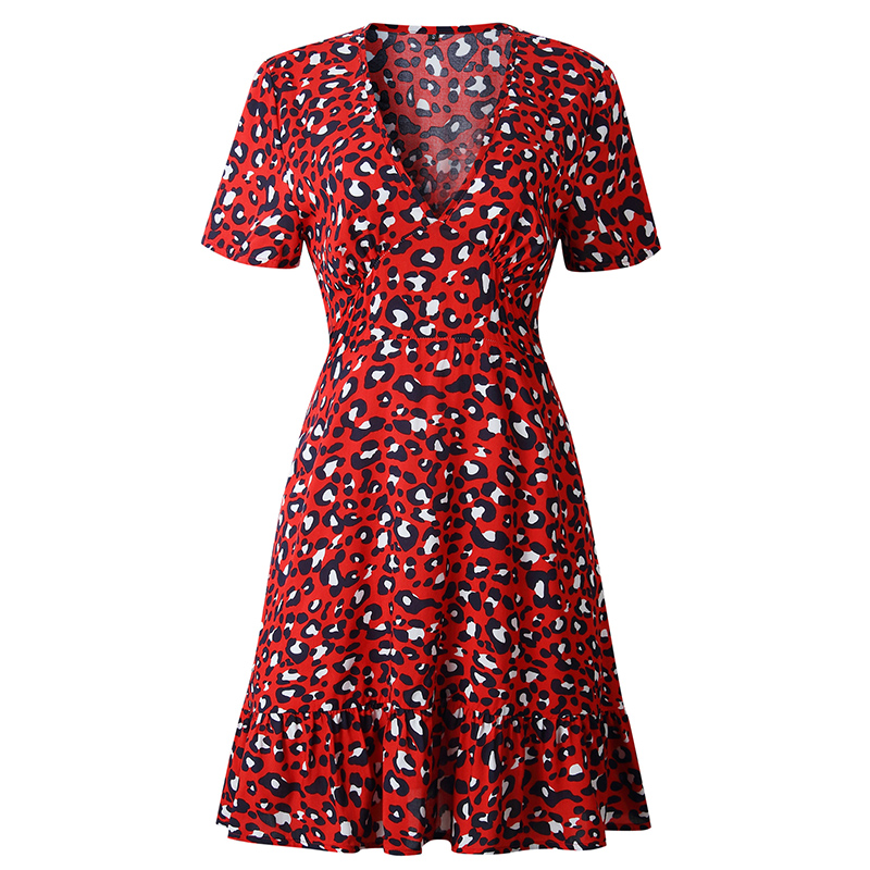 Forefair Print Leopard Dress sexy women short sleeve v neck Ruffle high waist Hem mini a line casual summer dress 2019 vestidos (1)