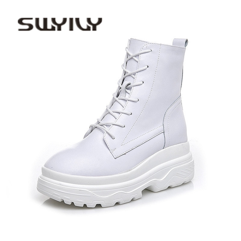 SWYIVY Genine Leather White Shoes Snow Boots Woman Platform 2018 Female Fashion Casuals Hoes High Top Increased Snow Boots Woman
