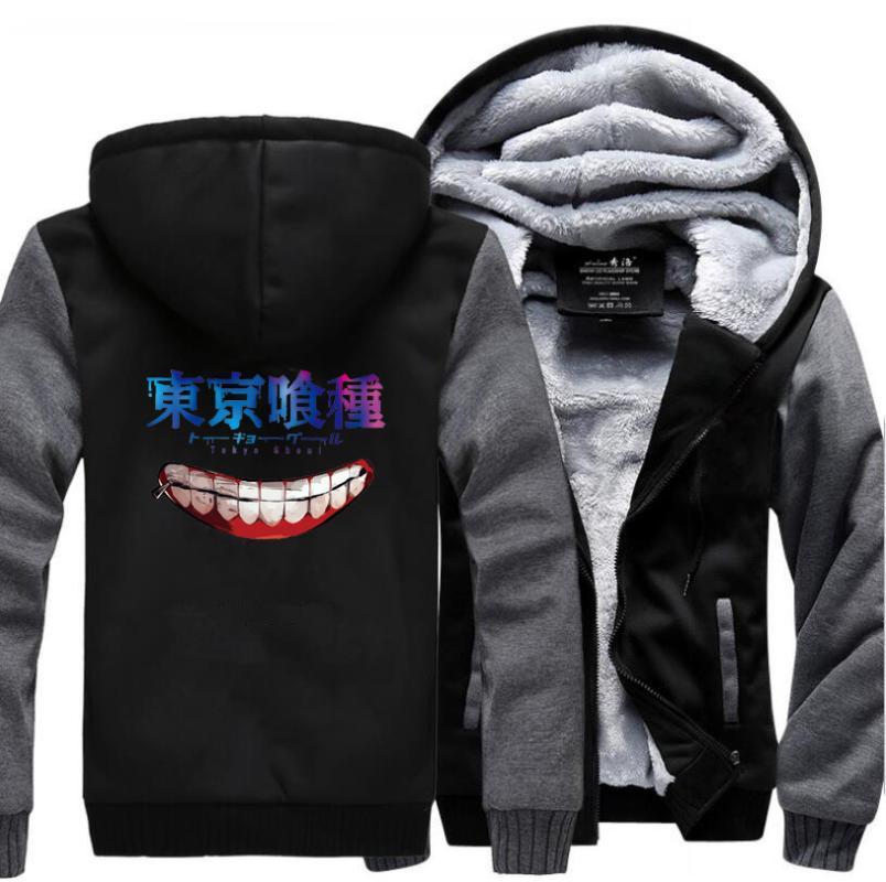 Men's Hoodies & Sweatshirts Tokyo Ghoul Ken Kaneki Harajuku Men 2021 Winter Jackets Casual Warm Fleece Brand Plus Size Tracksuit