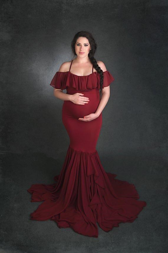 2019 Mermaid Maternity Dresses For Photo Shoot Chiffon Women Pregnancy Dress Photography Props Sexy Off Shoulder Maternity Gown (3)