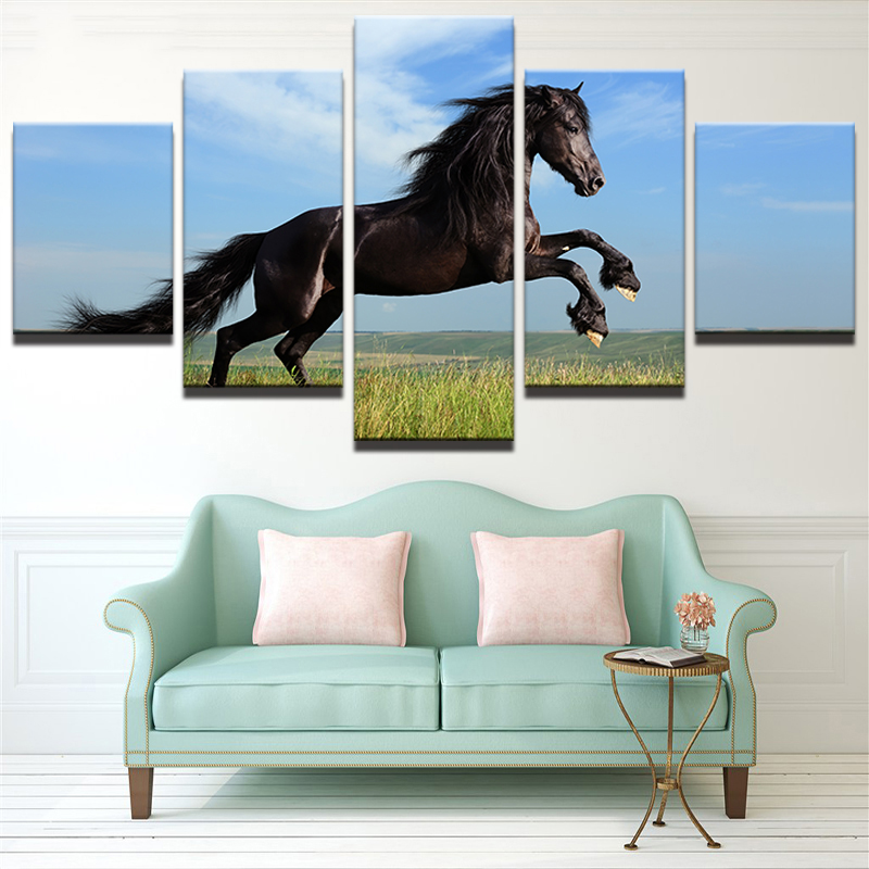 Large Poster HD Printed Painting Canvas Print 5 Panel Animal Black Horse Art Home Decoration Wall Art Pictures For Living Room