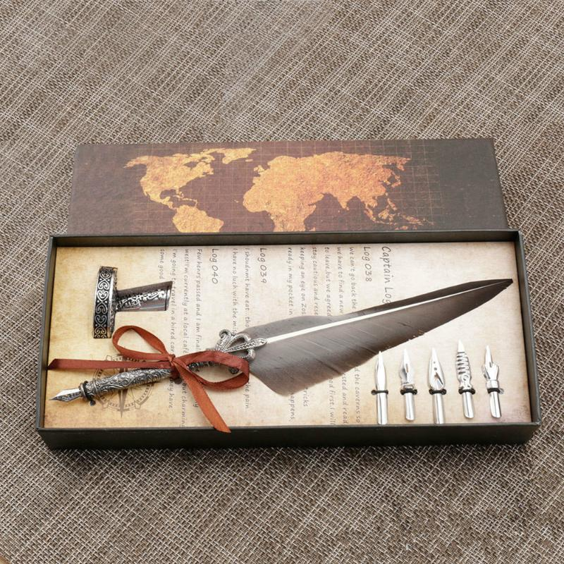 Gwolf Penna stilografica europea retr/ò penna stilografica britannica penna studente calligrafia scrittura inchiostro dip metallo penna stilografica set regalo di compleanno