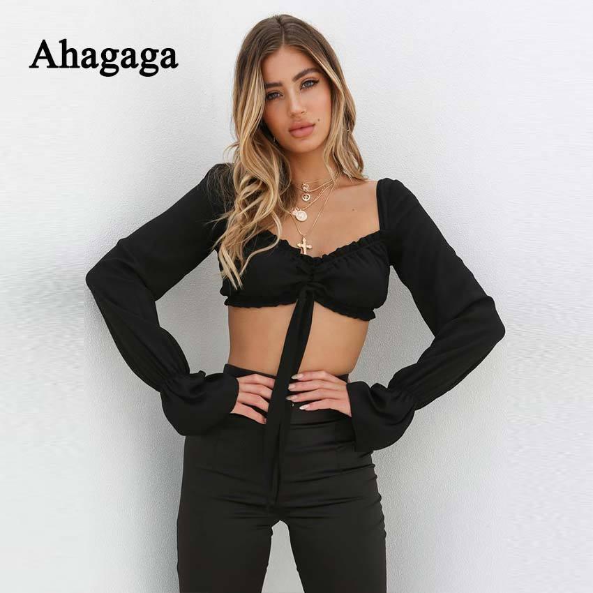 Ahagaga 2019 Spring Tees T Shirt Women Tops Fashion Solid White Black Hollow Out Sexy Club T-shirt Women T-shirts Blusas FemaleY19042002