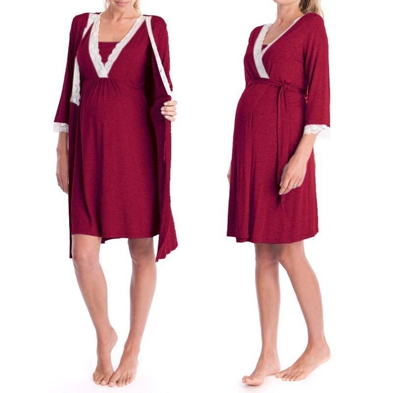Inlefen Mujeres Pijama Vestido Vestido de Noche de Lactancia de Maternidad camis/ón de Lactancia para