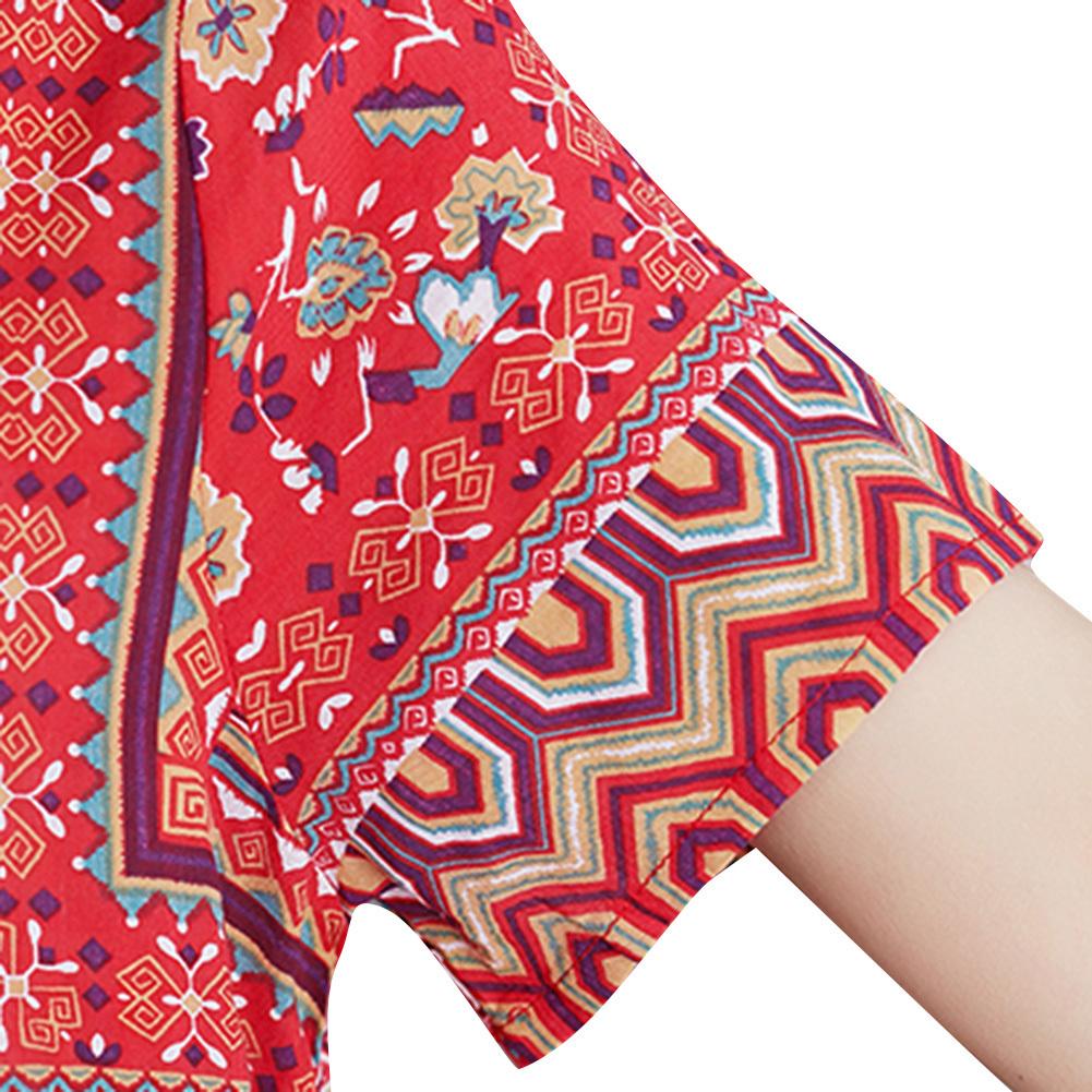 2019 Nuevo vestido estampado vintage Maxi suelto O cuello manga corta bolsillo lateral Vestido de verano 2019 Slit Baggy Plus Size vestido largo rojo