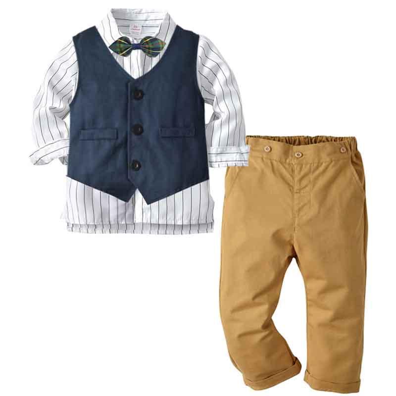 Fleur garçon Baby Kids Gentleman Tenues costume manteau cravate Ange Ensembles Party Vêtements