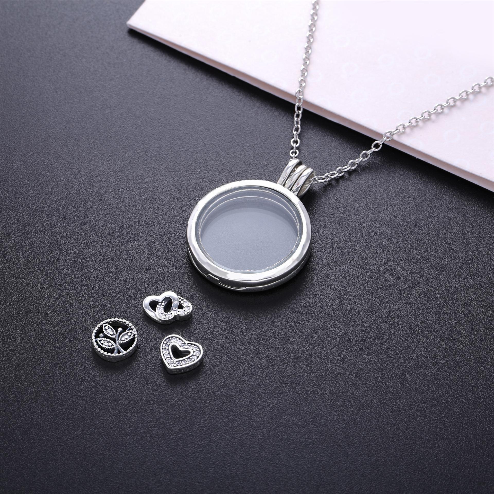 Original 925 Sterling Silber Schwimm Medaillon Pan Halskette Mit Klaren Zirkonia Glas Für Frauen Geschenk DIY Schmuck