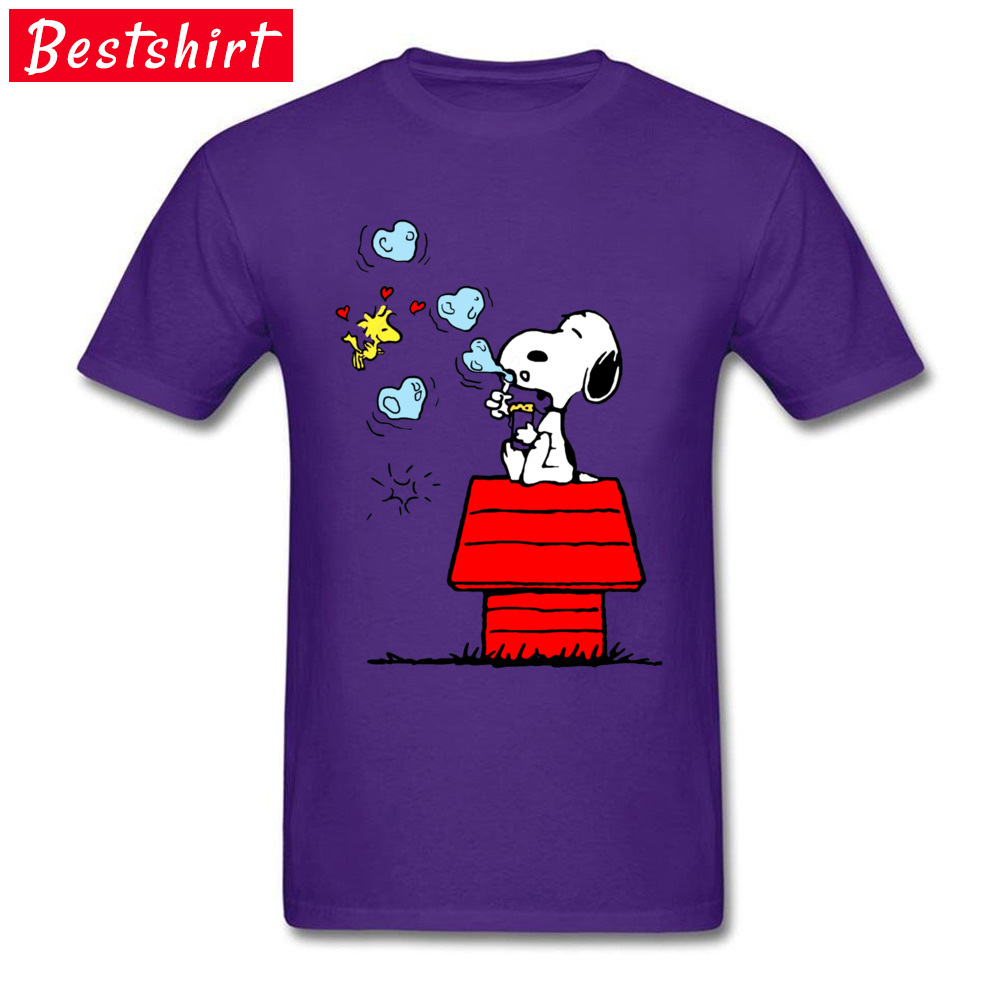 Snoopy and Woodstock -4362 Normal Summer/Autumn Pure Cotton O-Neck Men Tops Tees Tee Shirt Popular Short Sleeve Top T-shirts Snoopy and Woodstock -4362 purple