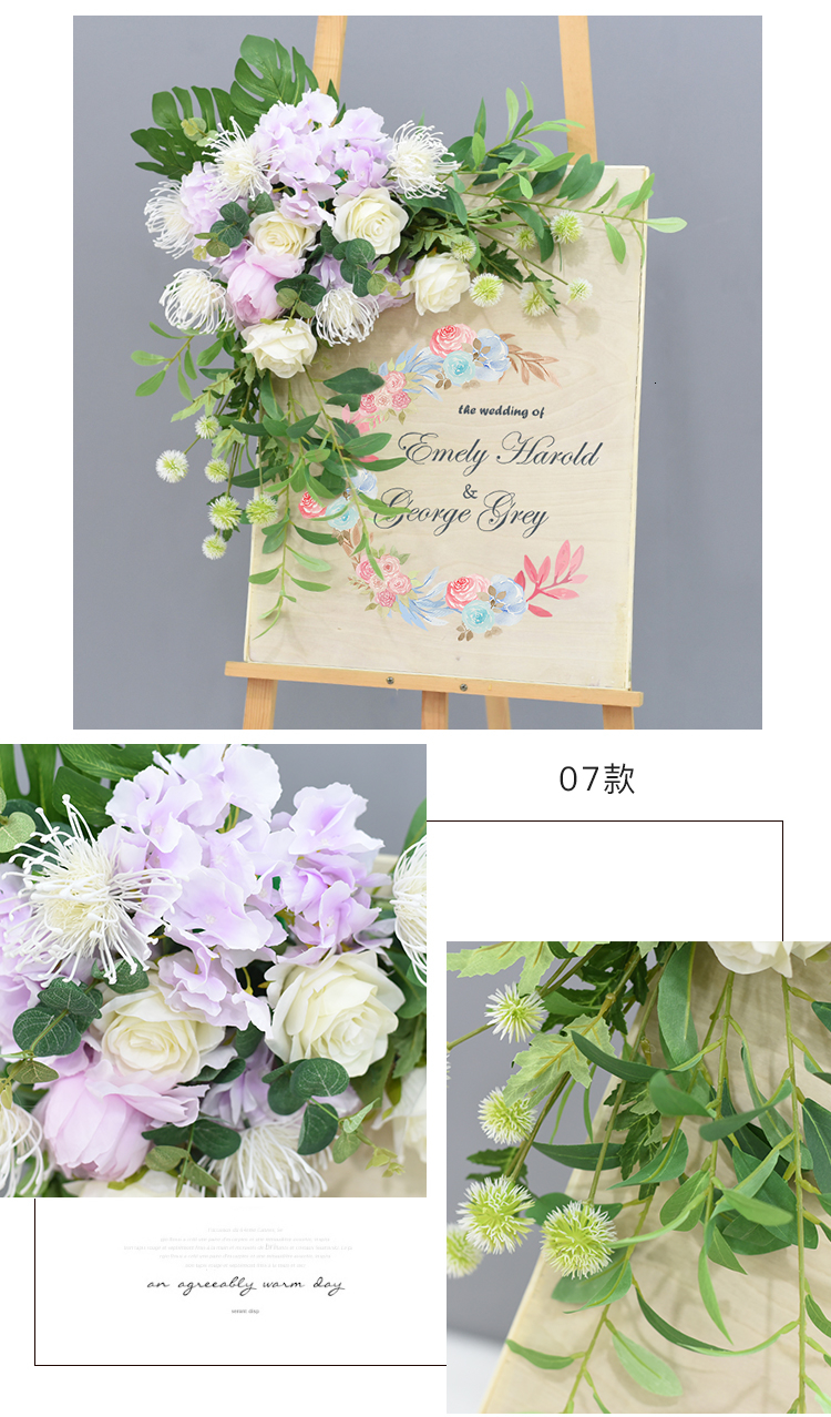 JAROWN Wedding Flower Row Welcome Sign Simulation Floral Hotel Creative Guide Decorations Photography Props Home Door Flower (2)