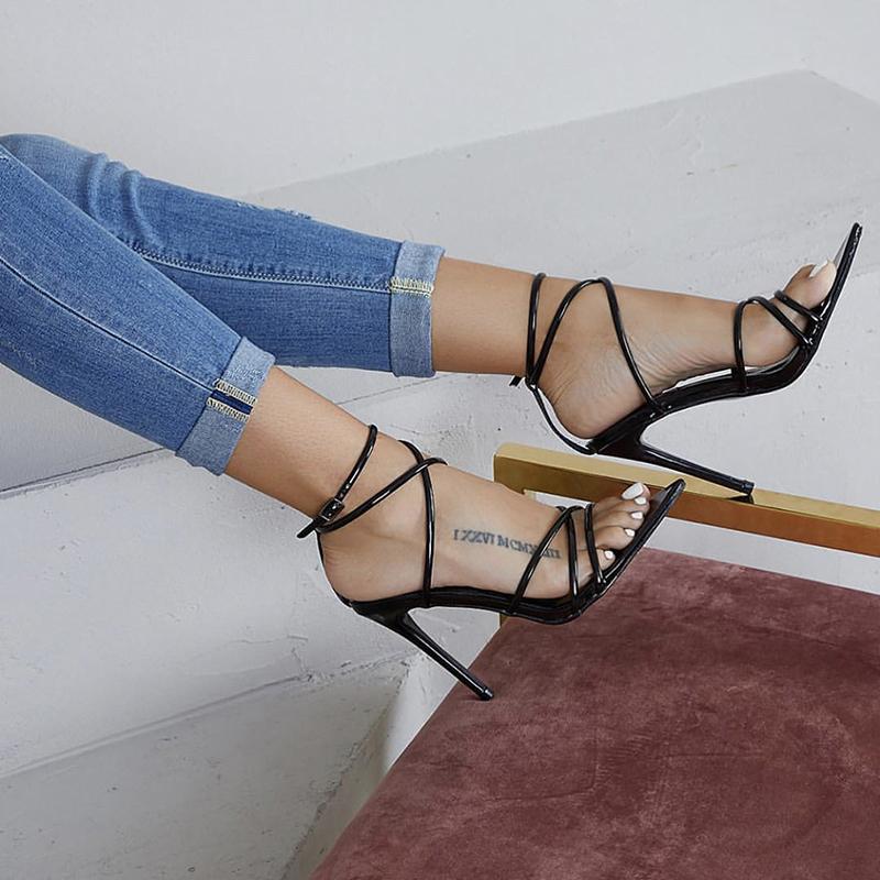 Tasarımcı Elbise Ayakkabı Süper Yüksek 11.5 CM Ince Topuklu Kadın Pompaları Ayak Bileği Çapraz Kayış Sandalet Kadın Bayanlar Sivri Burun Yüksek Topuklu Elbise parti