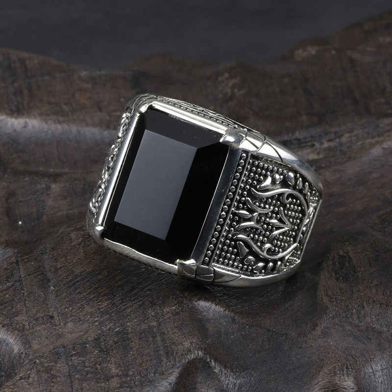 Vintage Ring Men Real Pure 925 Sterling Silver Jewelry Black Obsidian Natural Stone Rings For Mens Punk Rock Fashion C19041101