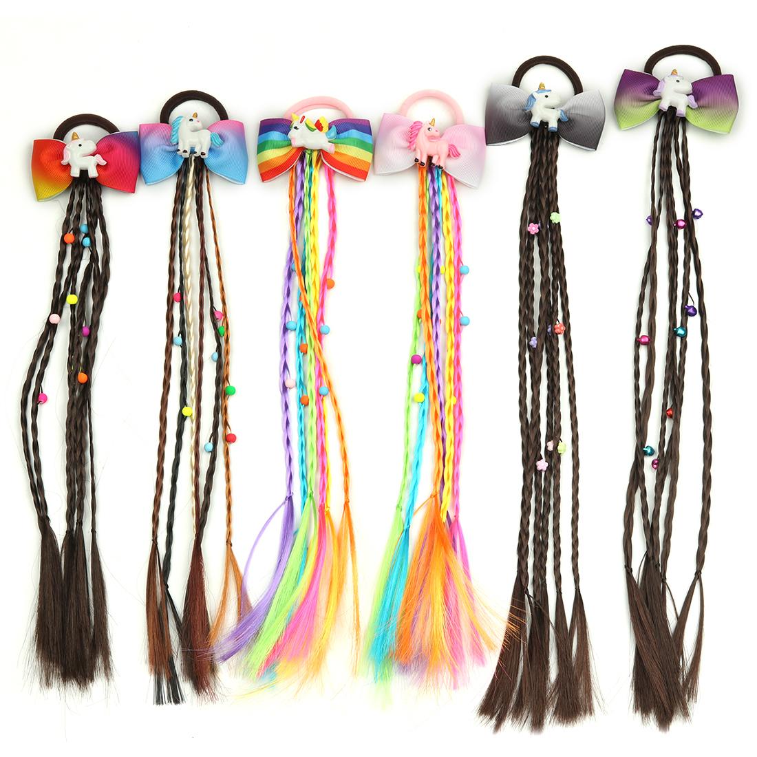 Women Elastic Hair Band Twist Wig Headband Bohemian Braided Headband For Kid Elastic Hair Rubber Band Hair Clip Accories